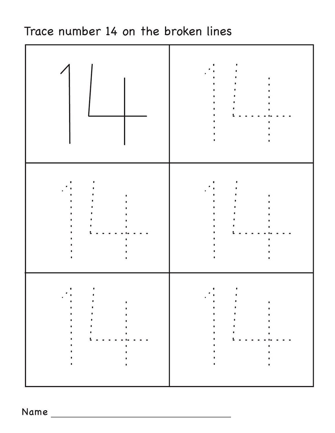 Number 14 Worksheets Printable