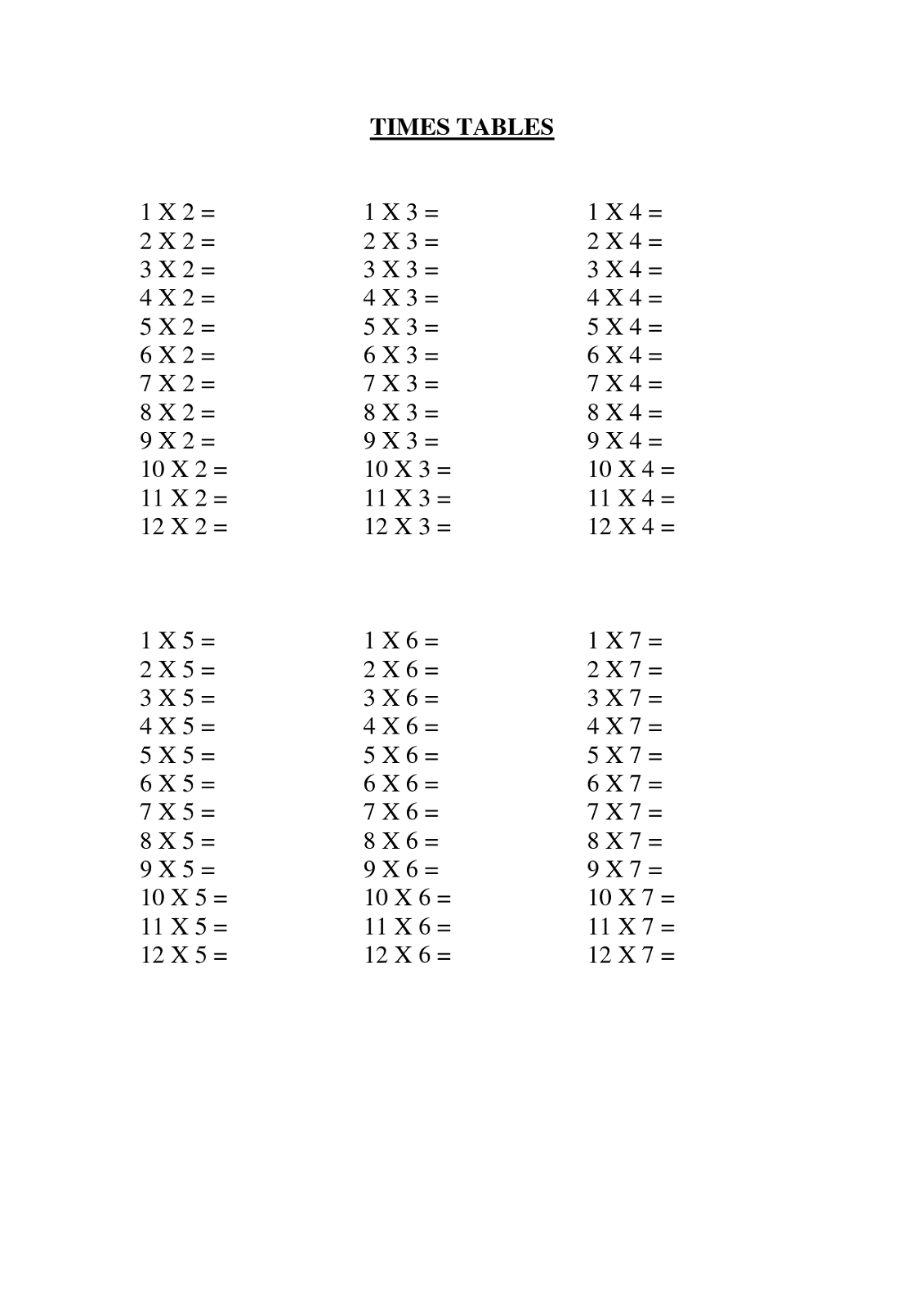 Multiplication Times Table Worksheet On Multiplication Of Integers Exercise Sheet