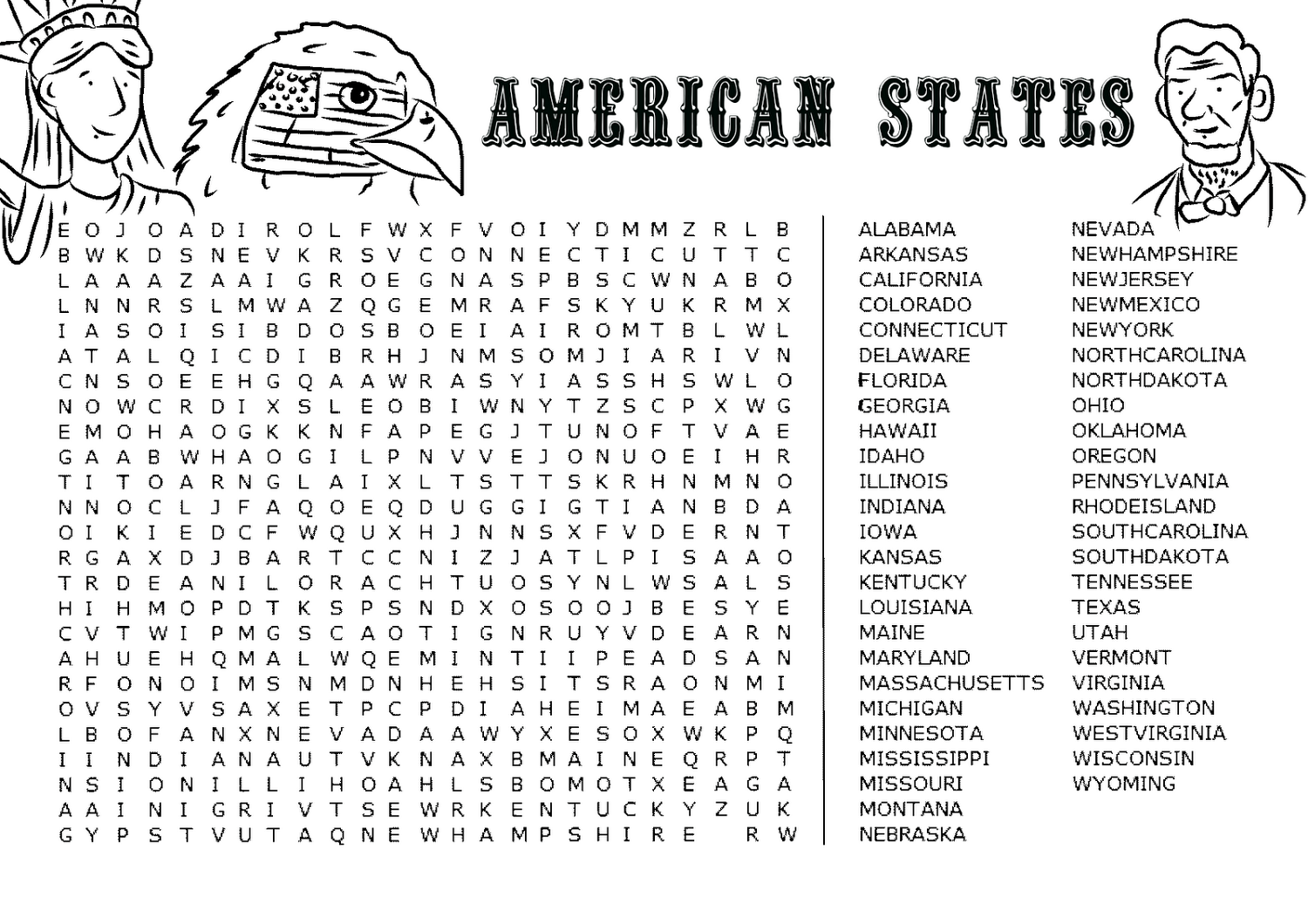 Reading Worksheet 50 States