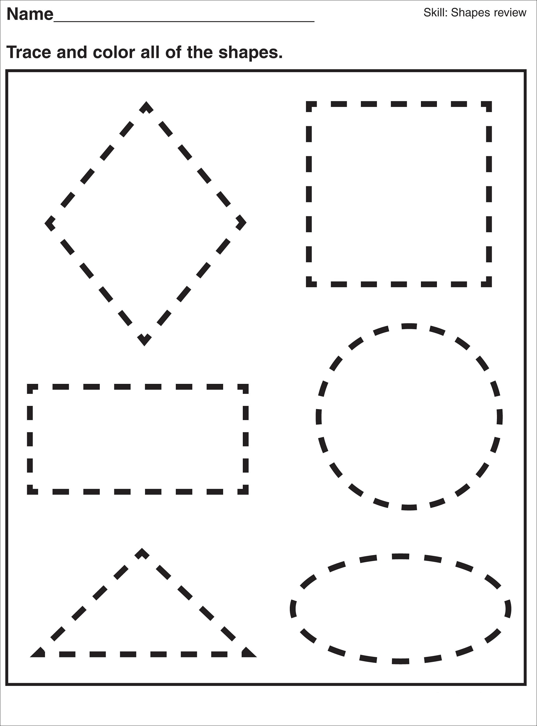 Pre K Shapes Worksheets