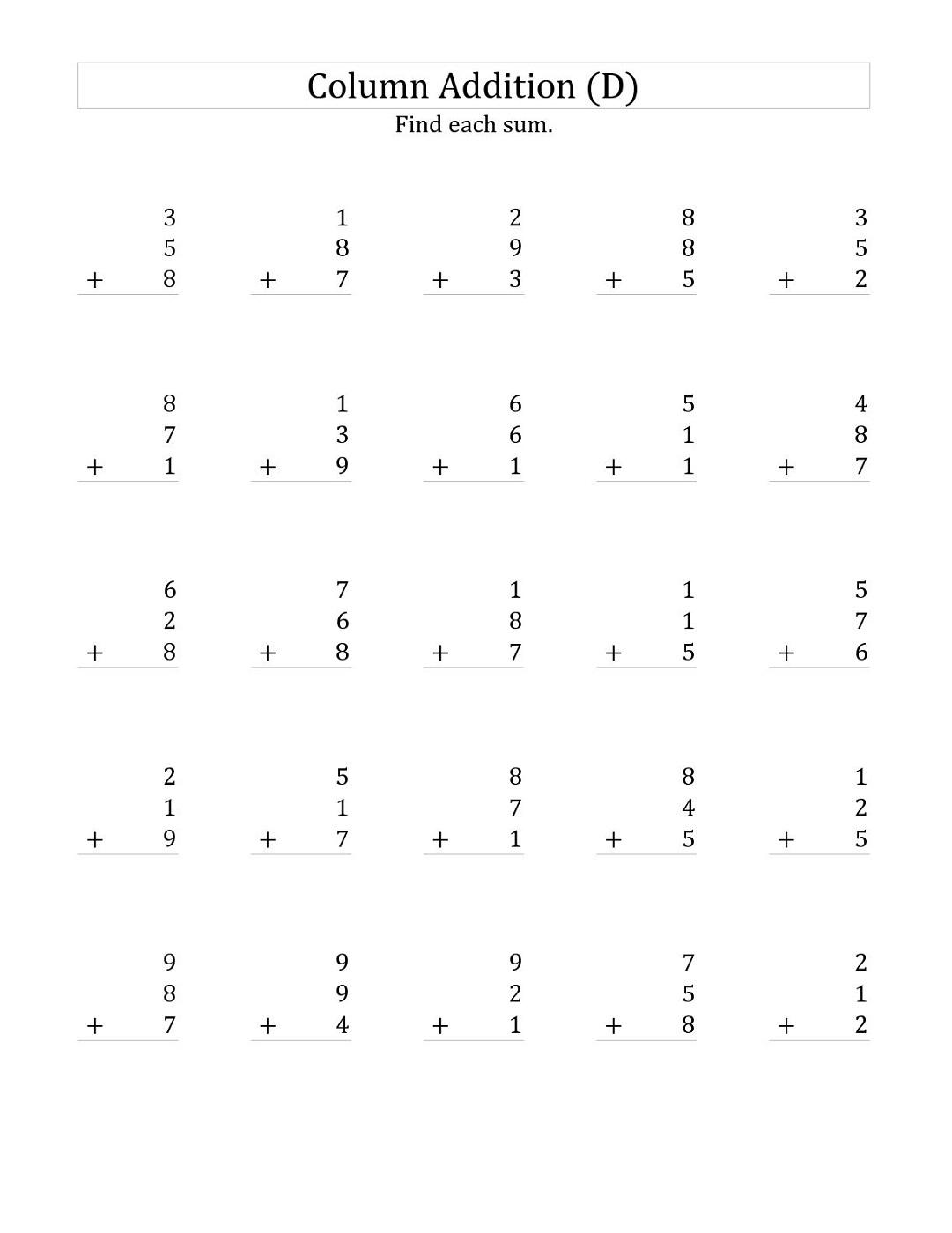 3 Addends Worksheets Printable