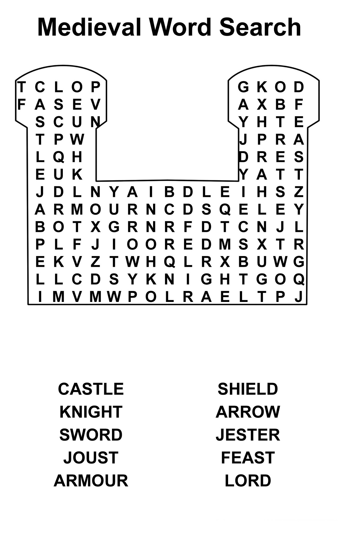 Middle Ages Worksheets Printable