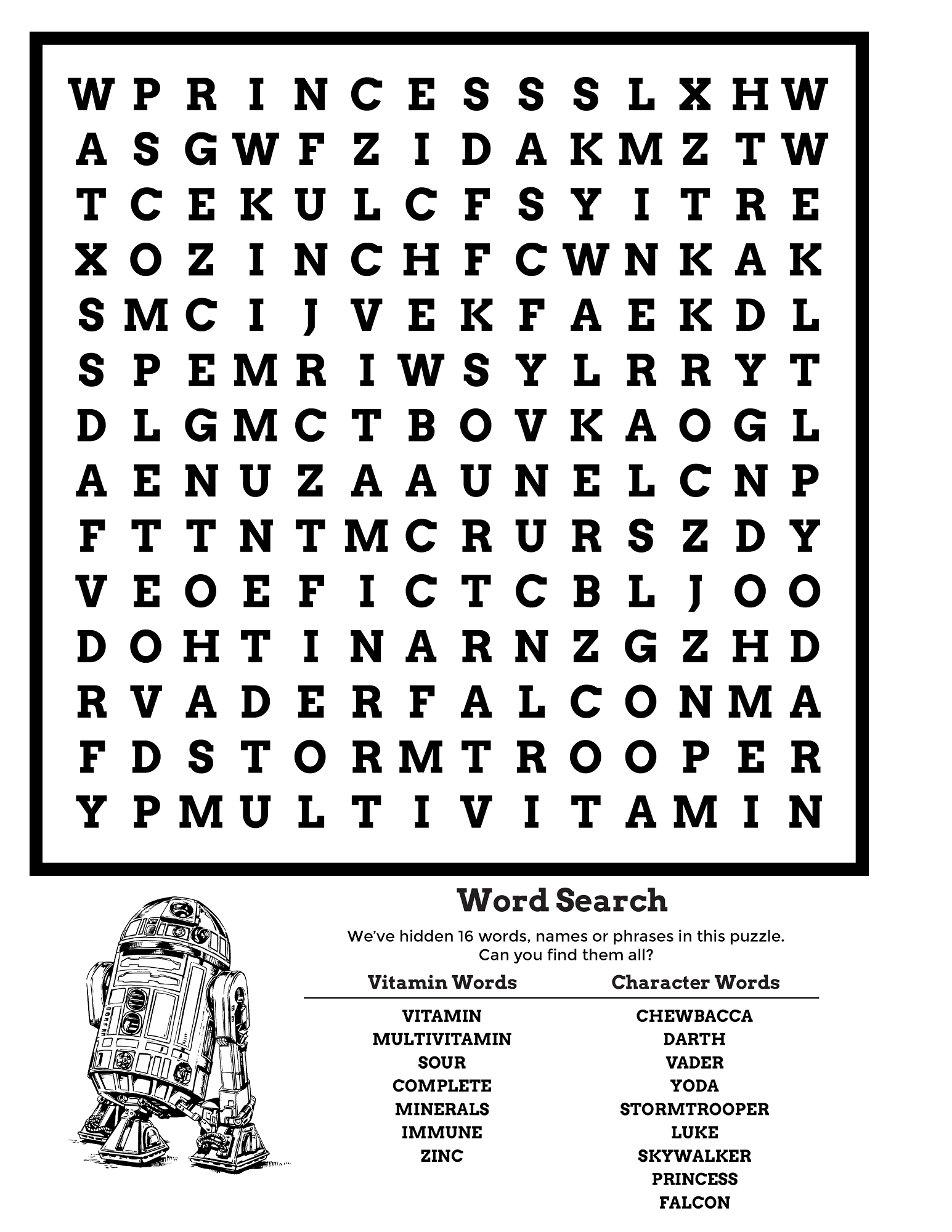 Star Wars Word Search Puzzle