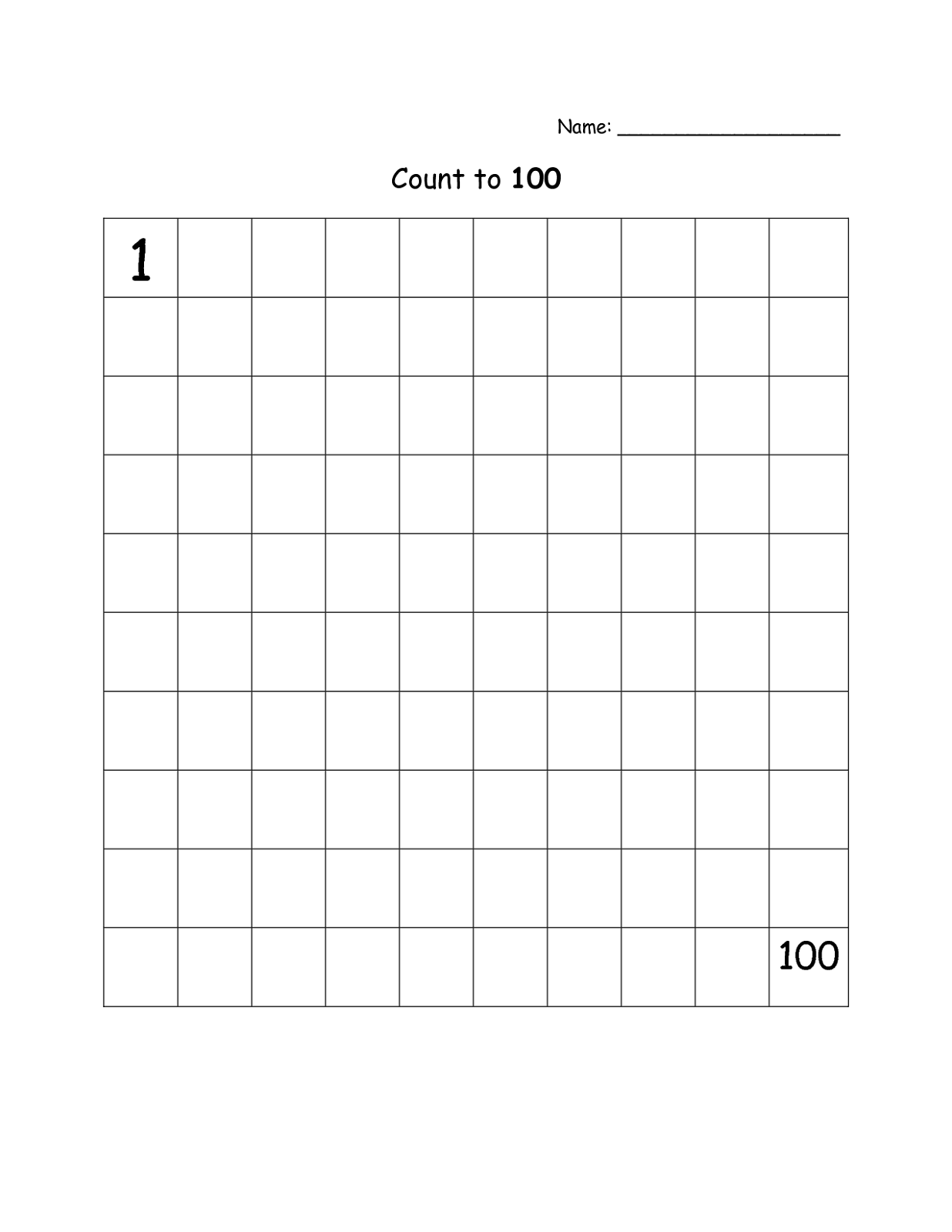 Printable Blank Number Charts 1 100