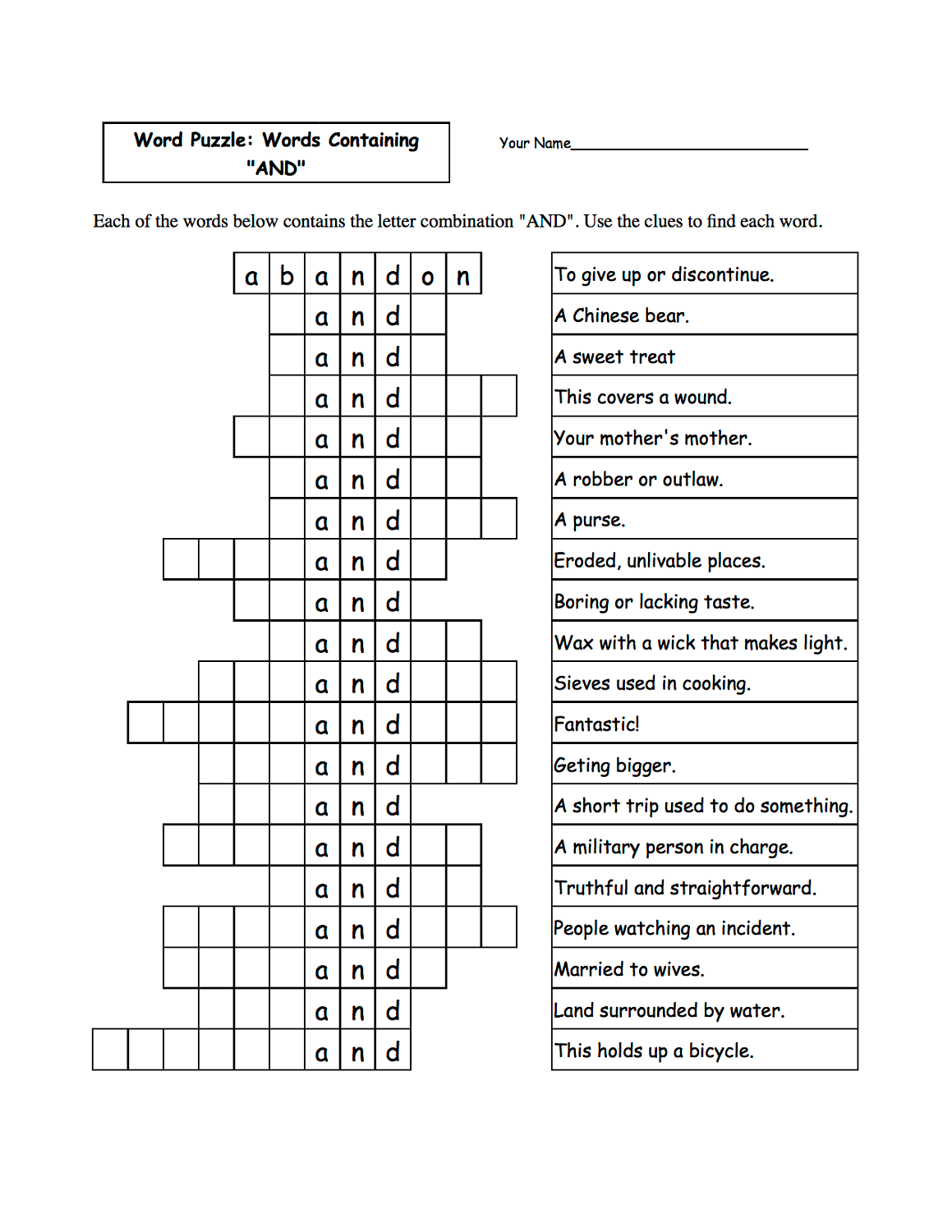 Word Game Worksheets