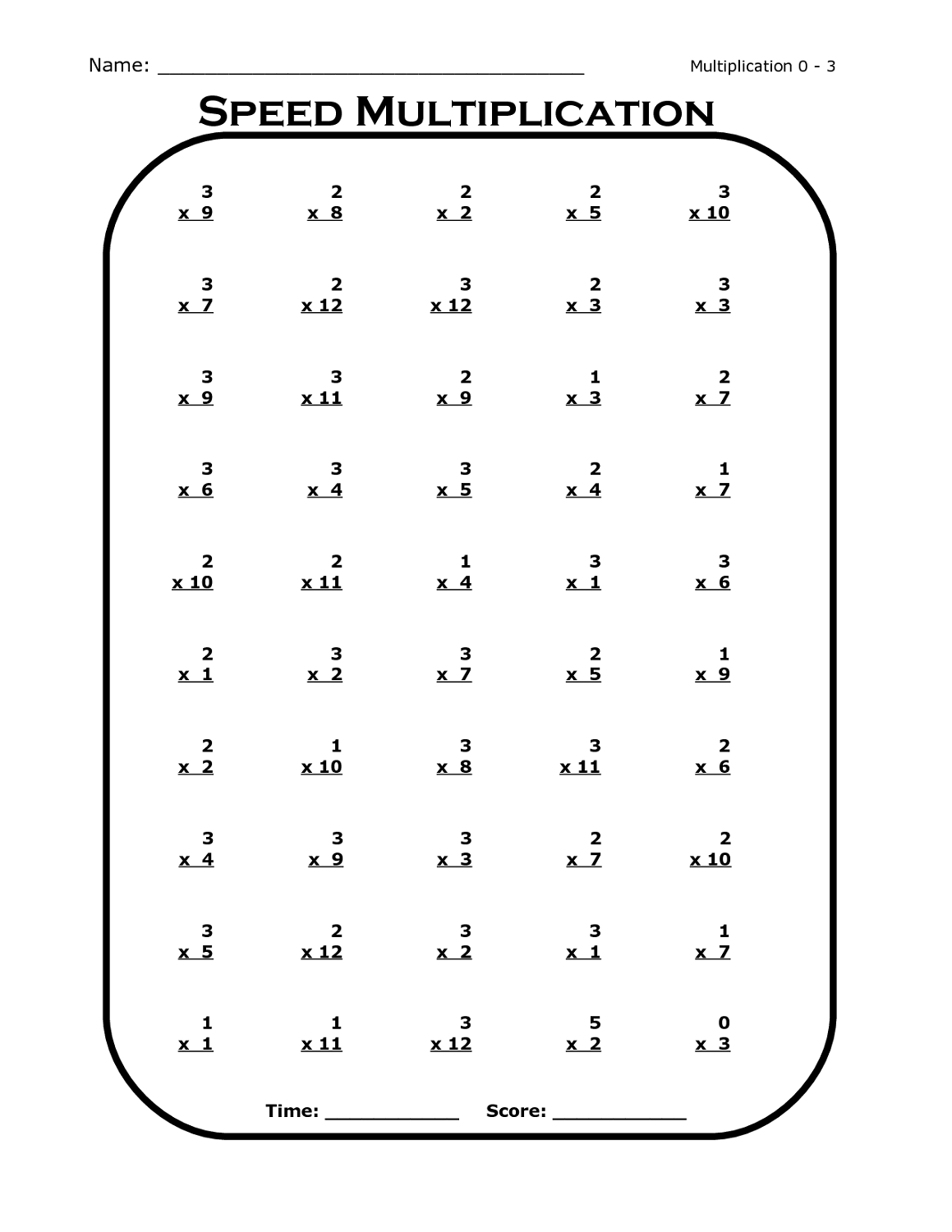 Times Table Worksheet Grade 4