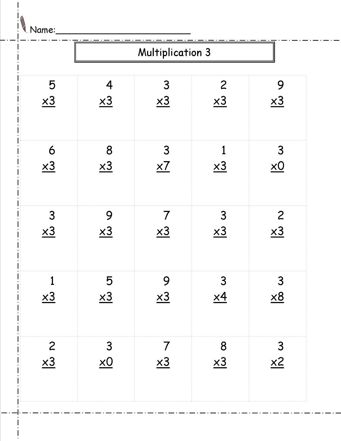 New 3 Times Table Worksheets To Print