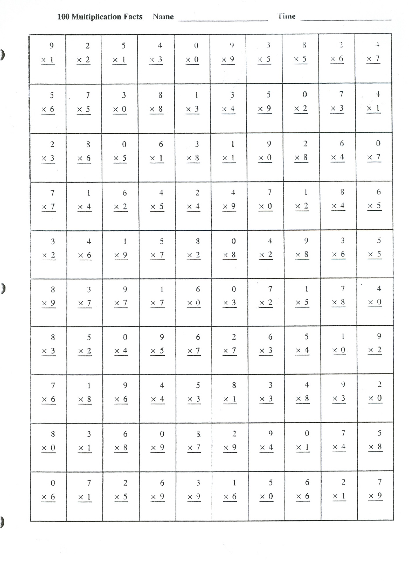 Printable Times Tables Worksheets