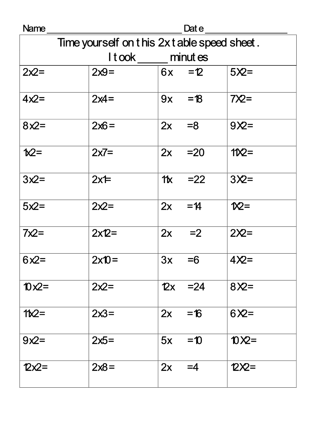 Free 2 Times Table Worksheets