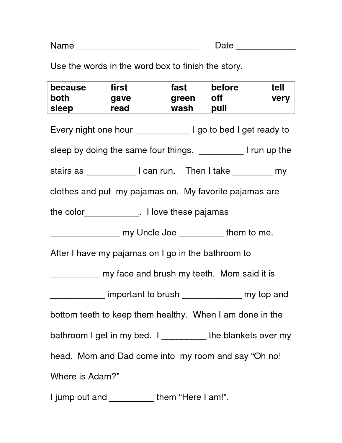 Literacy Prehension Worksheet