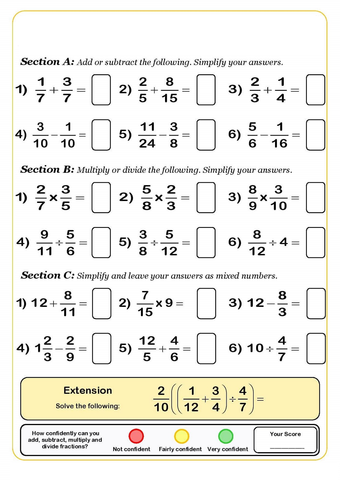 Math Worksheet Year 7 Printable