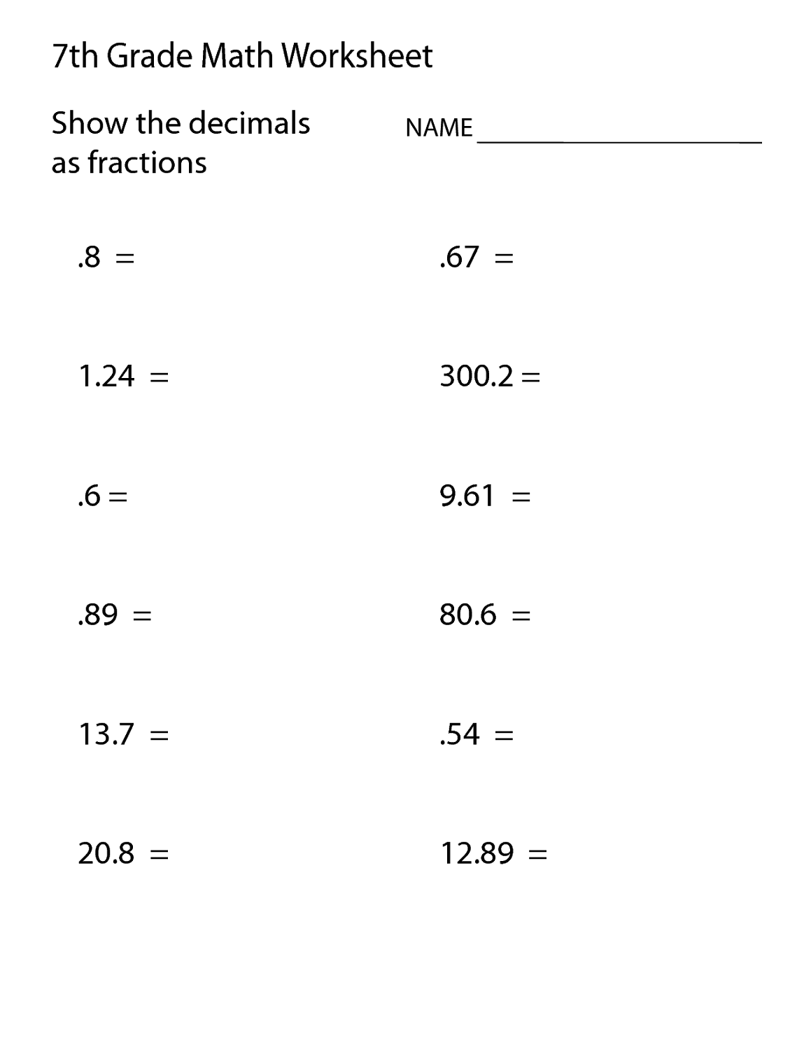 Free Mathematics Worksheets