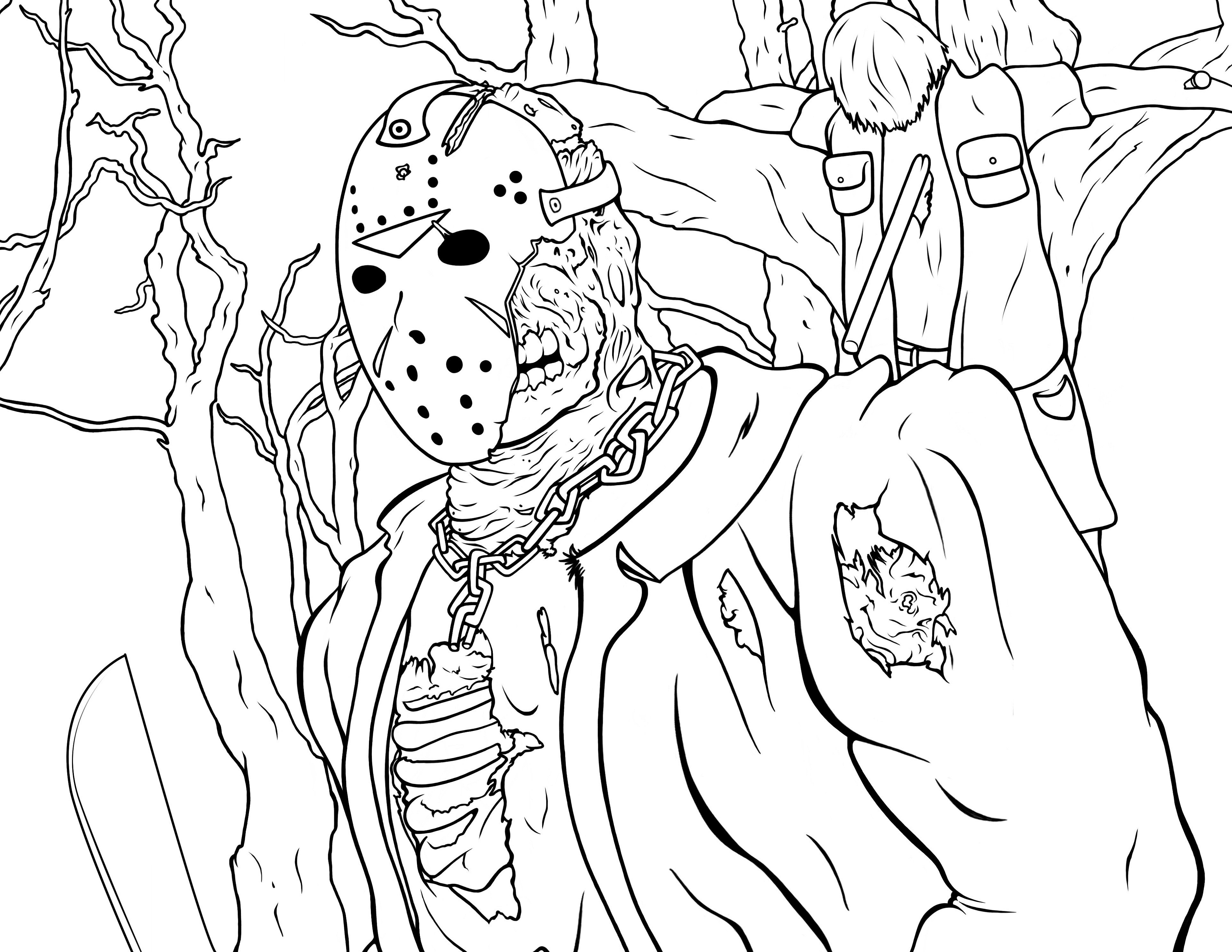 Jason Coloring Pages Friday The 13th