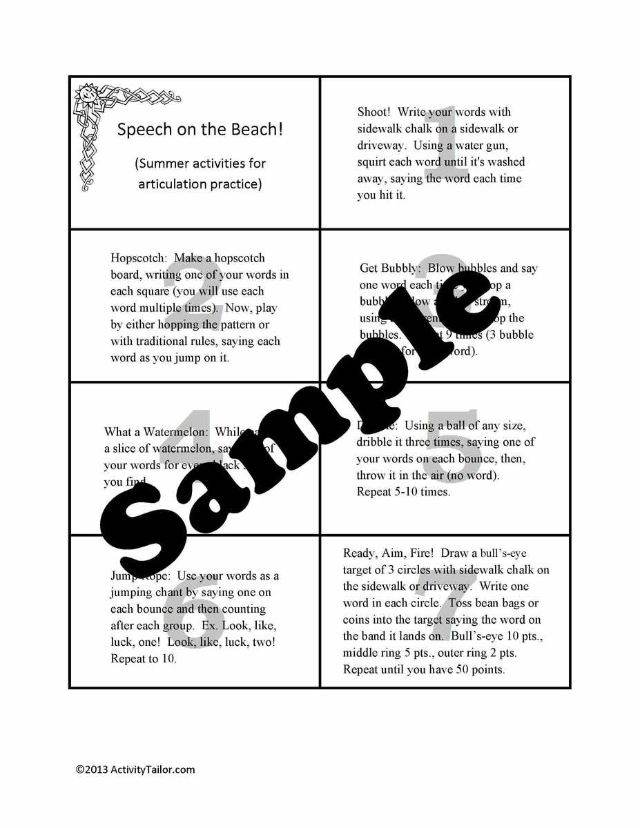 Freebie Speech On The Beach Summer Activities For Artic Practice At Home