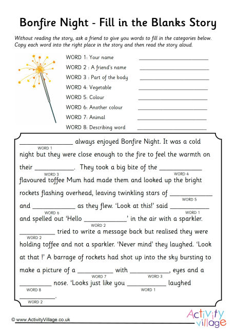 Bonfire Night Fill In The Blanks Story