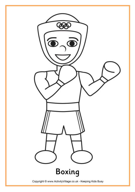 boxing colouring page