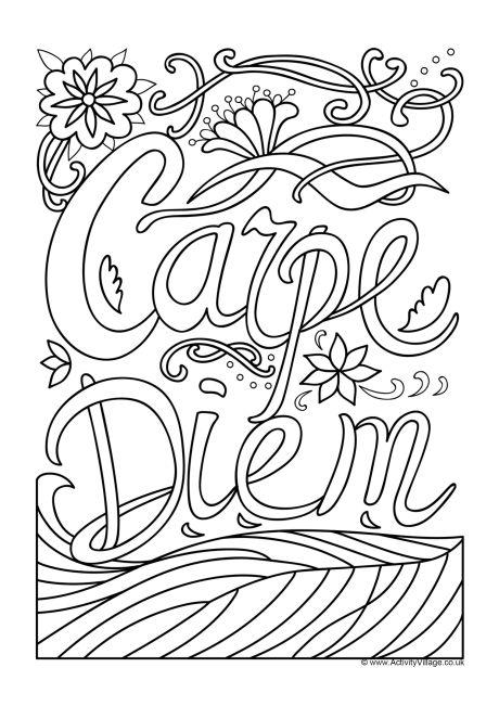 Carpe Diem Colouring Page