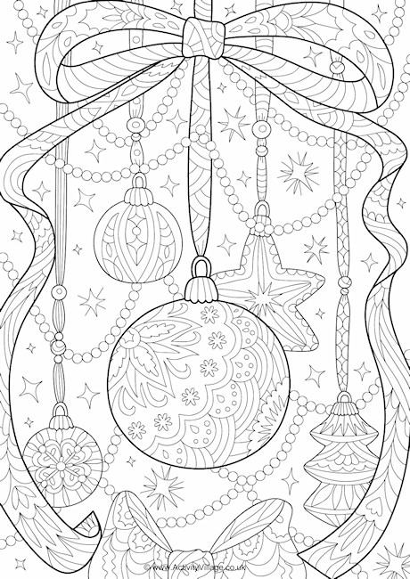 Christmas Decorations Doodle Colouring Page