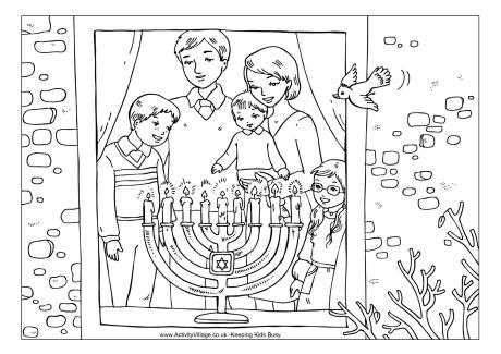 Family Menorah Colouring Page