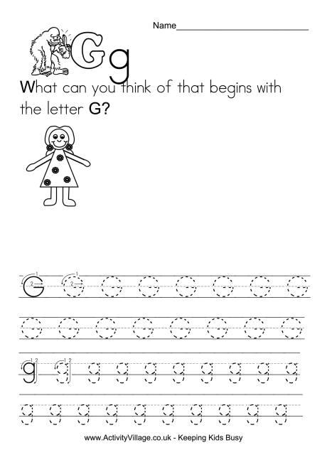 Handwriting Alphabet G
