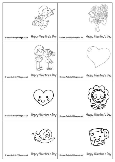 Mini Valentine Colouring Cards