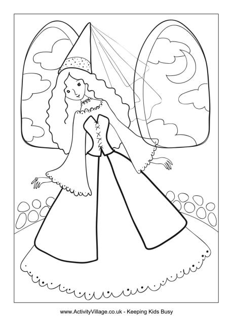 Princess In The Tower Colouring Page