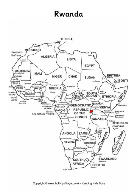 Rwanda on map of Africa