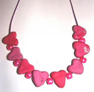 Homemade Heart Bead Necklace
