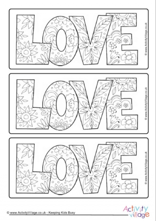 Valentines Day Doodle Colouring Bookmarks