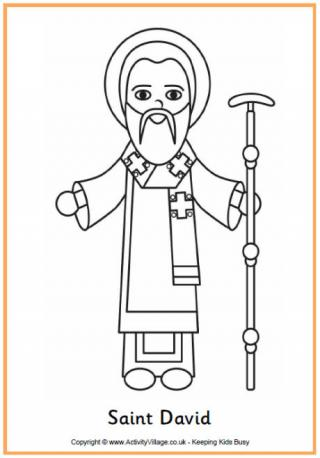 Saint David Colouring Page