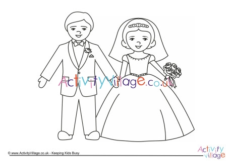 bride and groom coloring pages # 74