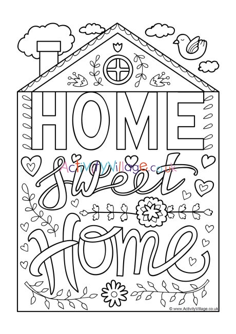 Home Sweet Home Colouring Page