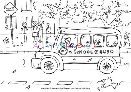 School Bus Colouring Page