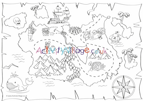 treasure map coloring pages # 3