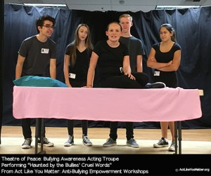 Photo of Theatre of Peace performing Haunted by the Bullies' Cruel Words Vignette, as part of Act Like You Matter: Anti-Bullying Empowerment Workshops.