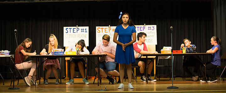 Photo of Theatre of Peace actors playing characters in Baffle That Bully! LIVE - Interactive Stage Play for K-3rd. Teaching tools to help you build confidence, stand up for yourself and others, and take back control of your life and happiness!