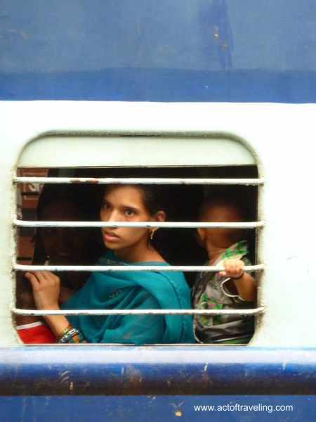 Woman in train India