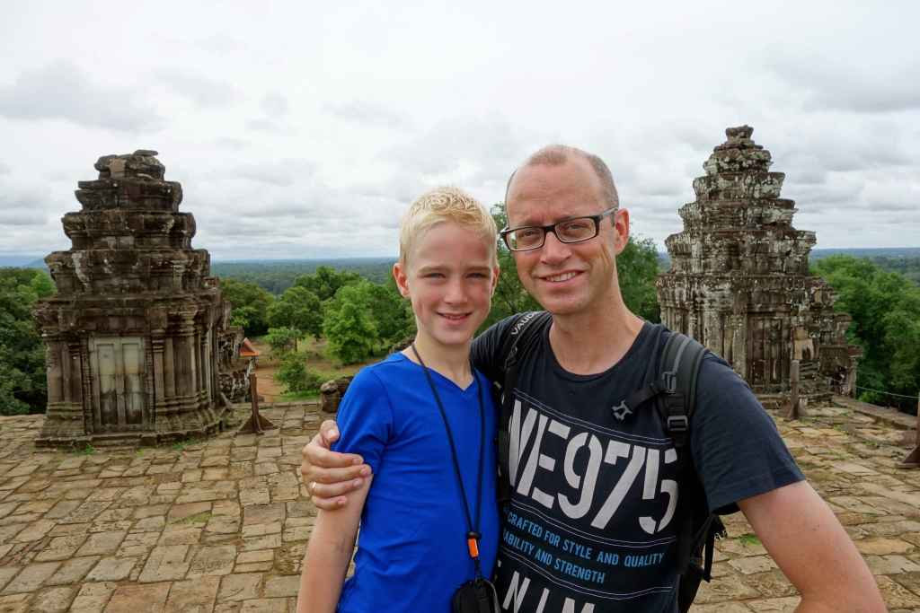 Me and my son on top of Phnom Bakheng
