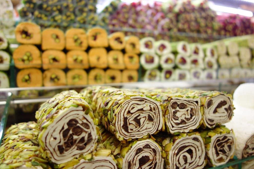 Variety of Turkish delight or lokum