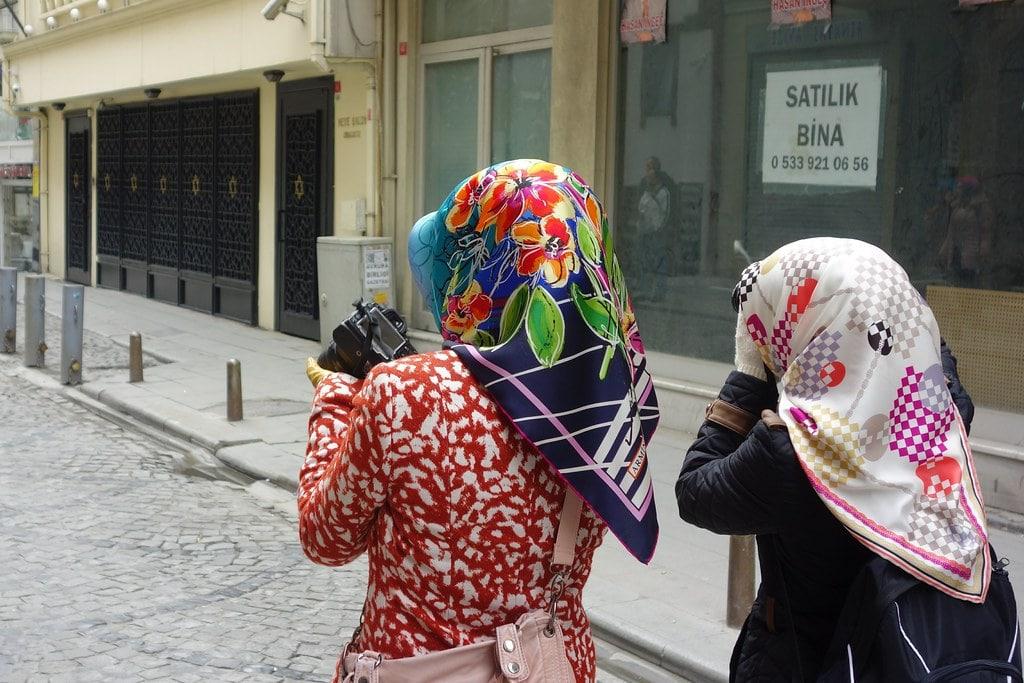 Turkish woman taking picture