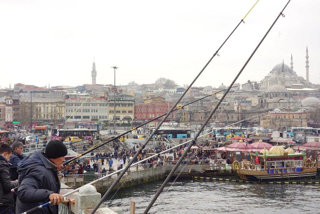 Fishermen at Galata bridge