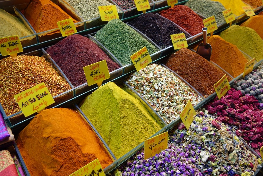 Colorful spices at spice market Istanbul