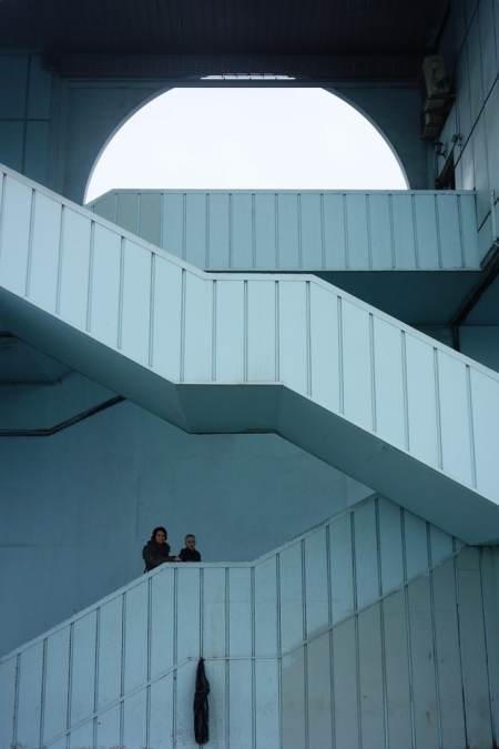 Galata bridge stairs down to river
