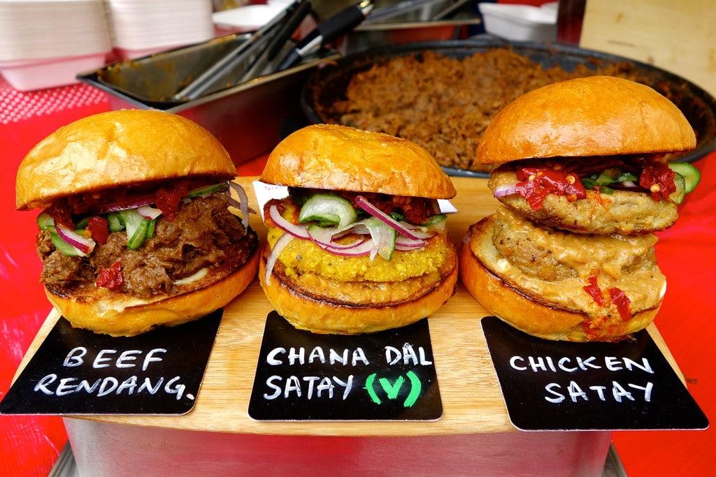 Three burgers street food London