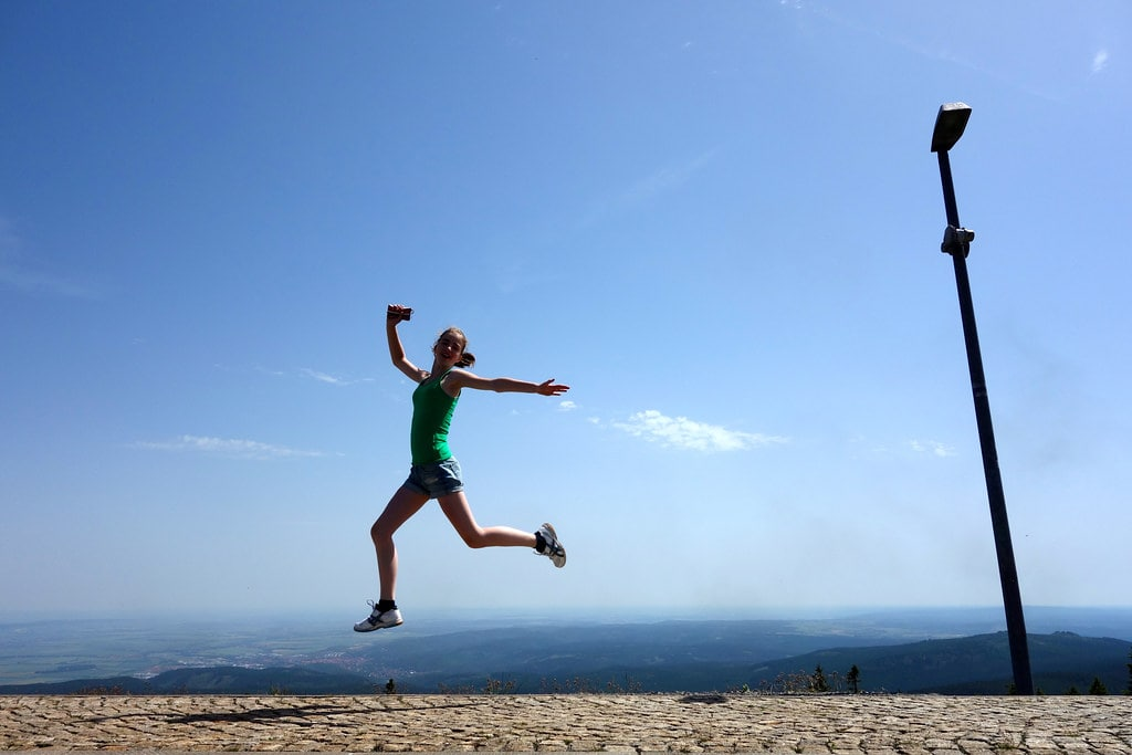 Jumping on top of Brocken mountain