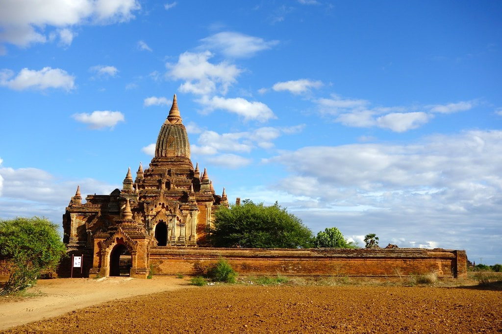 Bagan temple with blue sky