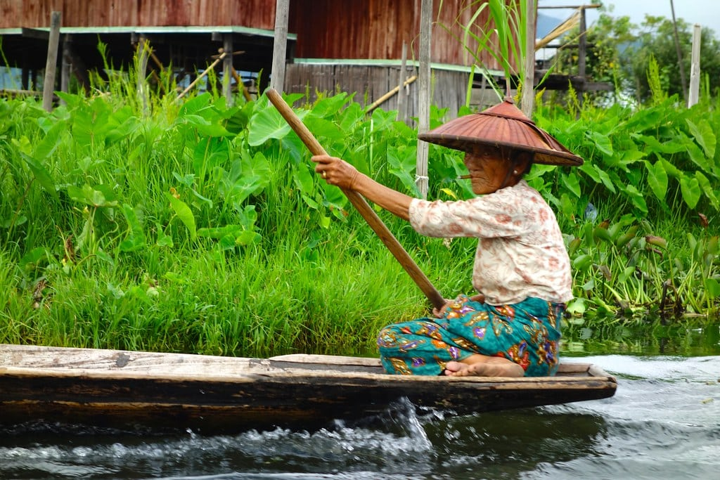 Old woman with cigar on boat Inle Lake