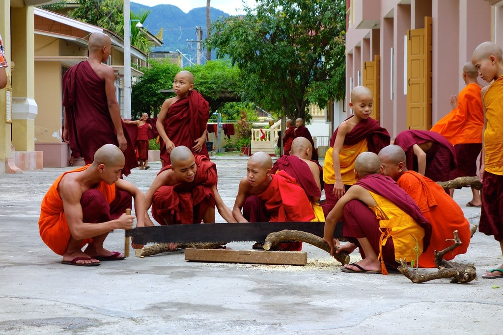 Monks sawing wood