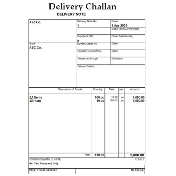 delivery challan word format