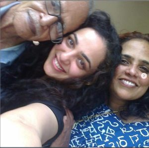 Nithya menon with her mother and Grand father